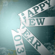 Happy New Year paper strips with shadows on grunge - ベクター素材ストック