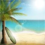 Ocean beach with surf board — Stock Vector #28109603