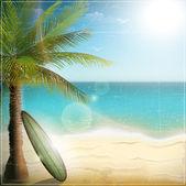 Ocean beach with surf board — Stock Vector