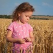 Cute girl playing in the wheat field  — Stock Photo