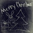 Chalk drawing - Merry Christmas — Stock Photo