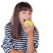 Happy cute girl with apple on white background — Stock Photo #28502073