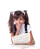 Cute little girl with books. School portrait. — Stock Photo