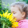 Beautiful little girl and sunflower — Stock Photo #29526071