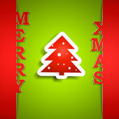 Tarjeta de papel de feliz navidad — Vector de stock