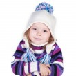 Smiling girl in winter clothes who is cold — Stock Photo