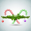 Merry Christmas candy with fir branches — Vector de stock