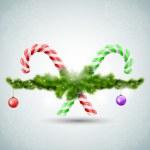 bonbons de Noël joyeux avec des branches de sapin — Vecteur