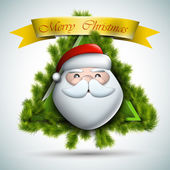 Santa With Fir Branches - Christmas Icon — Stock Vector