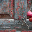 Red apples on old shabby wooden background — Stock Photo