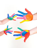 Family painted hand — Stock Photo
