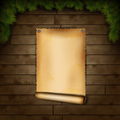 Old Paper On Wooden Texture — Stock Vector