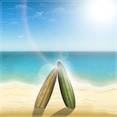 Old surf boards on ocean beach — Stock Vector