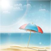 Summer day on ocean beach with umbrella — Stock Vector