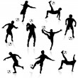 Football Players Silhouettes — Stock Vector