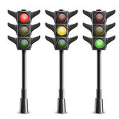 Black Traffic Lights On Pole. Vector Illustration — Stock Vector