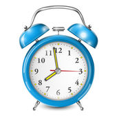 Blue Alarm Clock Isolated On White. — Stock Vector