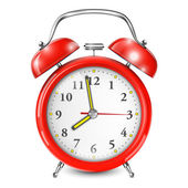 Red Alarm Clock Isolated On White. — Stock Vector