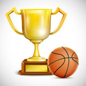 Golden Trophy Cup With Basketball. — Stok Vektör