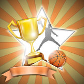 Basketball Poster With Trophy Cup. — Stockvector