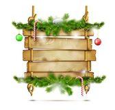 Hanging Christmas Wooden Billboard. — Stock Vector