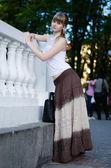 Girl in a long skirt — Stock Photo