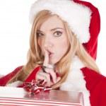 Mrs Santa present shhh — Stock Photo #12088308