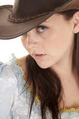 Woman look on eye hat — Stock Photo