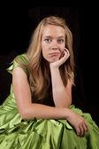 Znudzony sukienka zielony — Zdjęcie stockowe