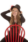 Red chair top hat — Stock Photo