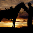 Cowboy horse sunset stand — Stock Photo