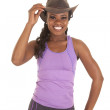 Purpe top cowgirl smile — Stock Photo
