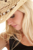 Cowgirl portrait look down side — Stock Photo