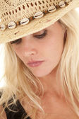 Cowgirl portrait look down — Stock Photo