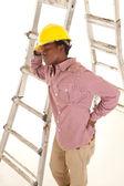 Hard hat ladder — Stock Photo