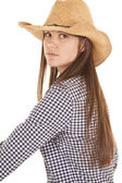Serious sit sideways cowgirl — Stock Photo
