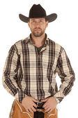 Cowboy hold belt black hat — Stock Photo