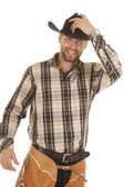 Smile hand on hat — Stock Photo