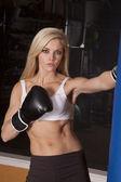 Mujer blanca deportes sujetador caja Mira — Foto de Stock