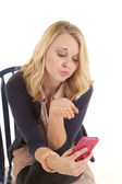 Blow kiss at phone — Stock Photo