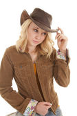 Touch brim of hat western — Stock Photo