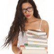 Asian woman books looking stack — Stock Photo