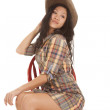 Asian woman plaid hat chair look back — Stock Photo