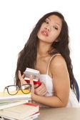 Kobieta azji książki okulary siedzieć — Zdjęcie stockowe