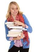 Kobieta książki strach — Zdjęcie stockowe