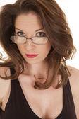 Woman look over glasses headshot — Stock Photo