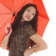 Asian woman red umbrella — Stock Photo