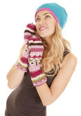 Woman hat mittens look up — Stock Photo