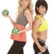 Two women work out back to back — Stock Photo #21847221
