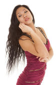 Asian woman phone head back — Stock Photo